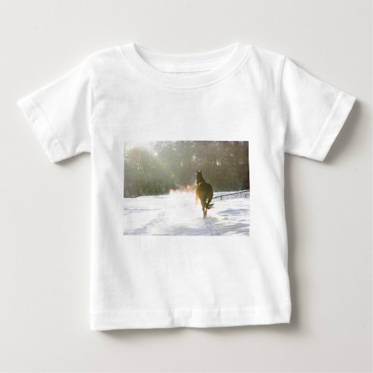 Horse in the snow baby T-Shirt