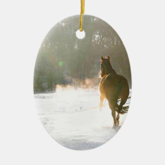 Horse in the snow ceramic ornament