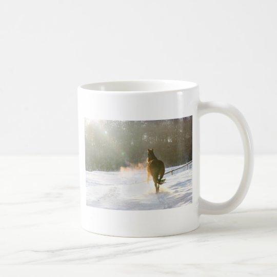 Horse in the snow coffee mug
