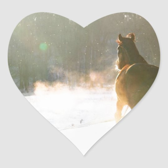 Horse in the snow heart sticker