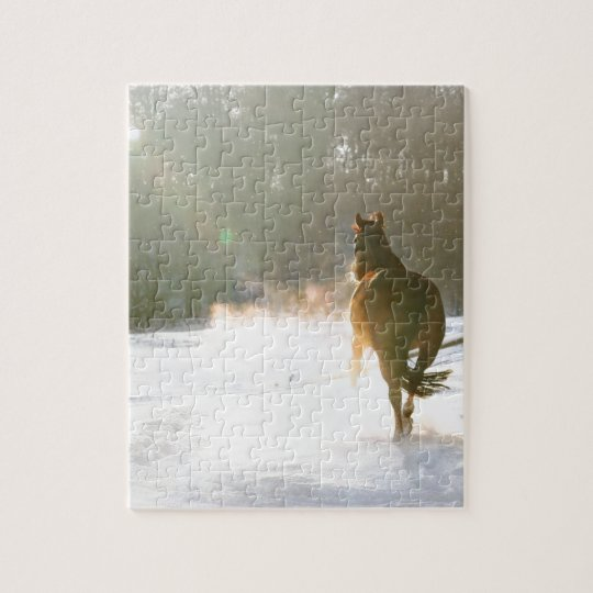 Horse in the snow jigsaw puzzle