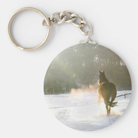 Horse in the snow keychain