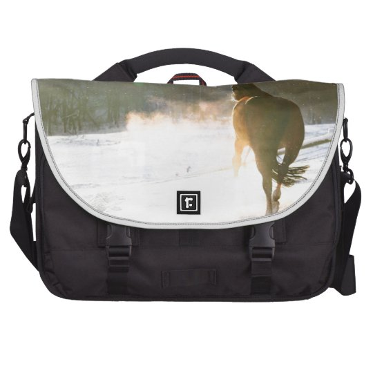 Horse in the snow laptop messenger bag