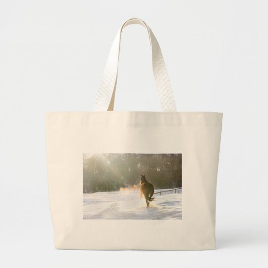 Horse in the snow large tote bag