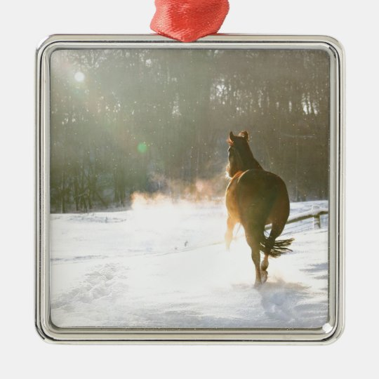 Horse in the snow metal ornament