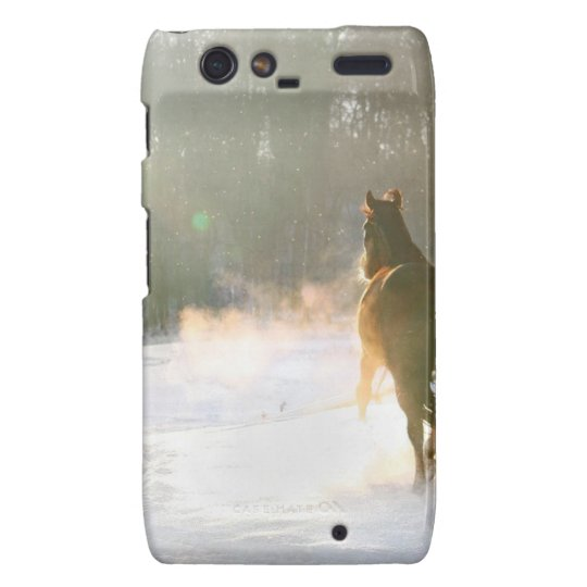 Horse in the snow motorola droid RAZR cover
