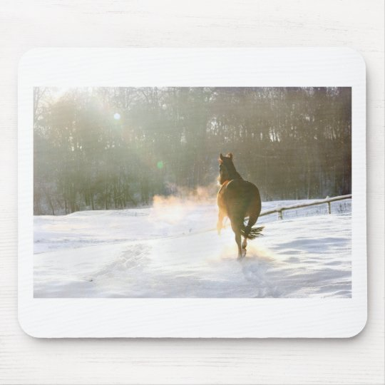 Horse in the snow mouse pad