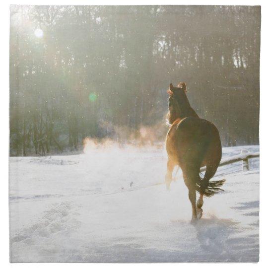 Horse in the snow napkin