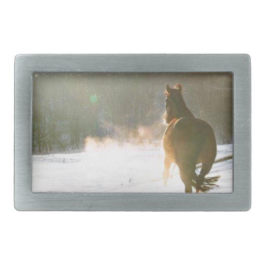 Horse in the snow rectangular belt buckle