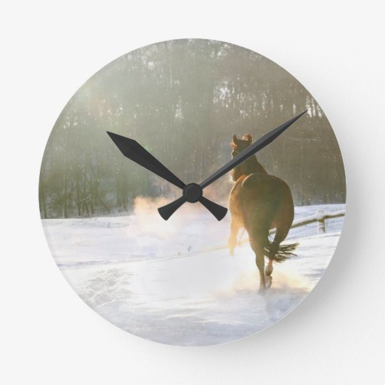 Horse in the snow round clock