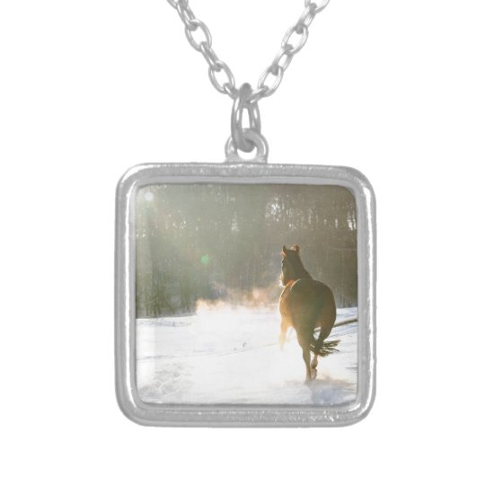 Horse in the snow silver plated necklace