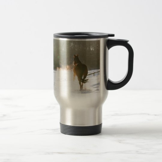 Horse in the snow travel mug