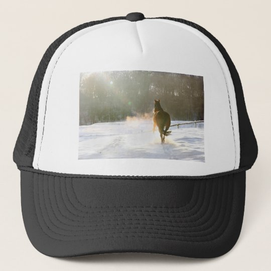 Horse in the snow trucker hat