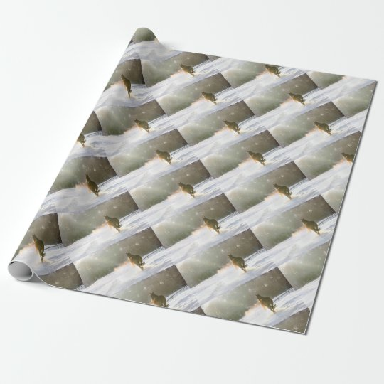 Horse in the snow wrapping paper
