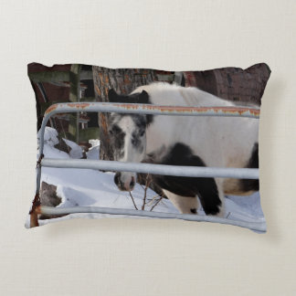 Horse in the winter time decorative pillow