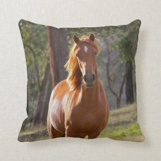Horse In The Woods Throw Pillow