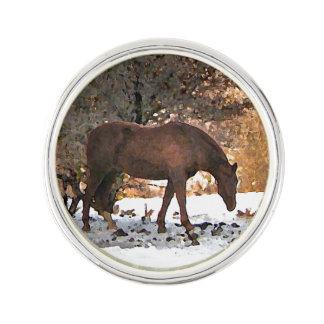 Horse in Winter Lapel Pin