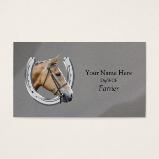Horse inside horseshoe logo business card