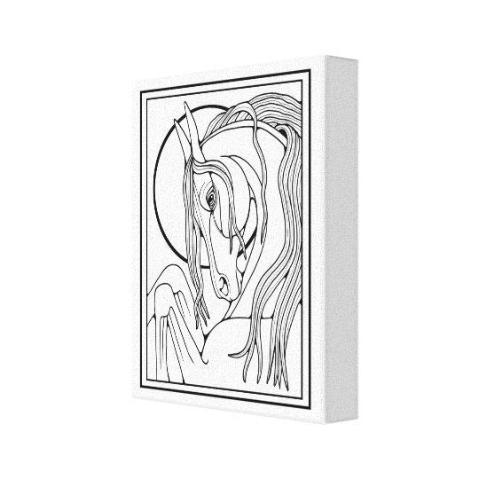 Horse Line Art Design Canvas Print