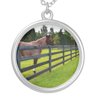 Horse looking down fence path silver plated necklace