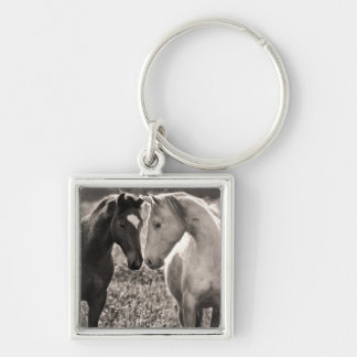 Horse Love Silver-Colored Square Keychain