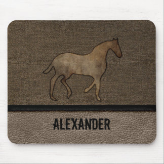 Horse Lover Leather Masculine Brown Rugged Art Mouse Pad