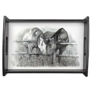 Horse Lovers: Pencil Drawing of Horse Couple Serving Tray