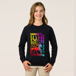 Horse Lovers Terminoligy Rainbow Typography Sweatshirt