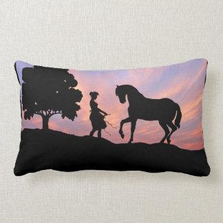 Horse & Maiden Silhouette Pillow
