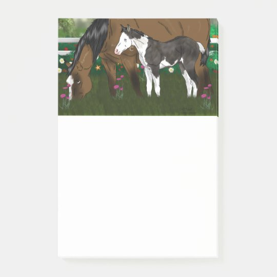 Horse Mare and Paint Foal Post-it Notes