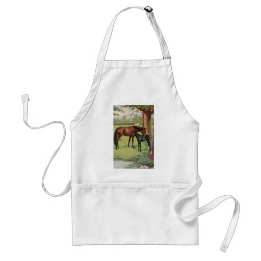 Horse Mare Foal Equestrian Vintage Image Aprons