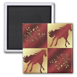 Horse Maroon and Gold With Gold Leaves Square Magnet