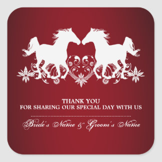 Horse modern silhouette floral square sticker