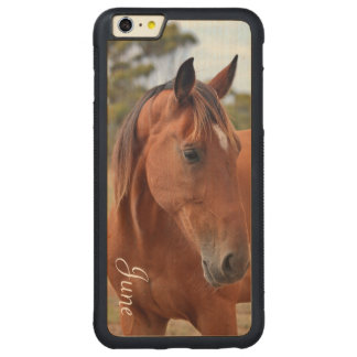 Horse Monogram Carved Maple iPhone 6 Plus Bumper Case