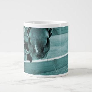 horse muzzle with hay fence blue large coffee mug
