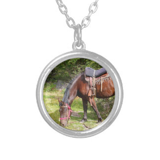 Horse near El Chalten, Argentina Silver Plated Necklace
