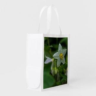Horse Nettle White Wildflower Floral Reusable Bag Market Tote