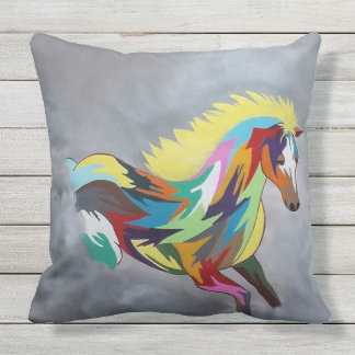 Horse of Many Colors Patio Cushion