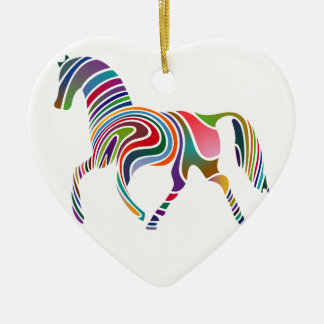 Horse of rainbow ceramic heart ornament