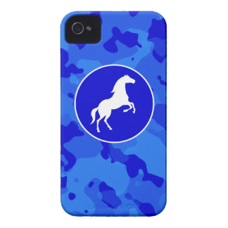 Horse on Blue Camo Camouflage iPhone 4 Cases