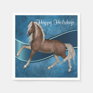Horse On Blue Holiday Paper Plates Disposable Napkins