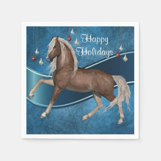 Horse On Blue With Ornaments Happy Holidays Paper Napkin