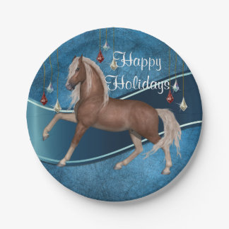 Horse On Blue With Ornaments Holiday Plates