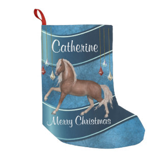 Horse On Blue With Ornaments Merry Christmas Small Christmas Stocking