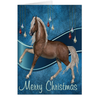 Horse On Blue with Ribbon  Merry Christmas Card