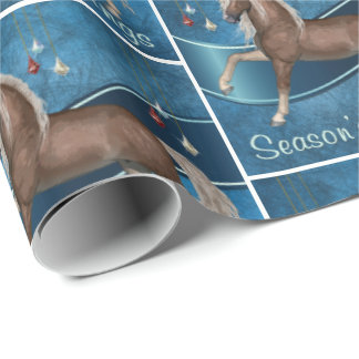 Horse On Blue With Sparkle Ornaments Season's Gree Wrapping Paper