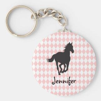 Horse on Diamond Pattern Template Basic Round Button Keychain