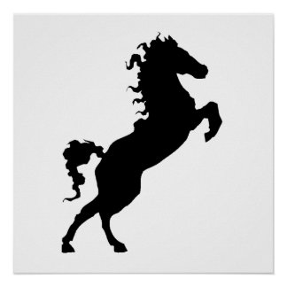Horse On Hind Legs Silhouette Poster