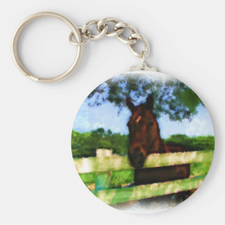 Horse Over Fence Basic Round Button Keychain