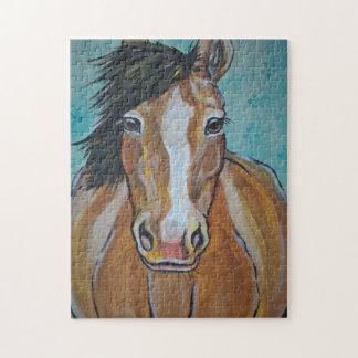 Horse Painting Jigsaw Puzzle Aqua Tan Difficult